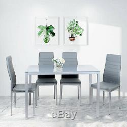 Glass Dining Table and 4 Chairs Seat Grey Restaurant Home Furniture Modern