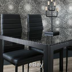 Glass Dining Table and 4 Chairs Set 4 Seater