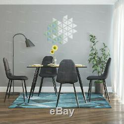 Glass Dining Table and 4 Grey Fabric Chair Dining Room Cafe Lounge Bar Furniture