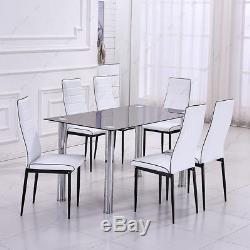 Glass Dining Table and 4 Or 6 Chairs Set Faux Leather Padded Kitchen Room Seater
