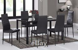 Glass Dining Table and 6 Chairs Faux Leather Clear White or Black Furniture New