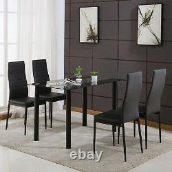 Glass Dining Table and Chairs 4 Seater Room Kitchen furniture Black Dining Set