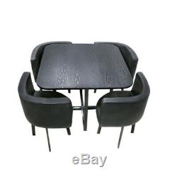 Glass/MDF Dining Table and Faux Leather Chairs 4 Seats Space Saver Kitchen Cafe