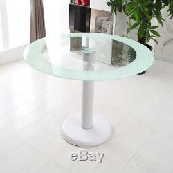 Glass Rectangle Round Dining Table Set And 4 Faux Leather Chairs Chrome Leg