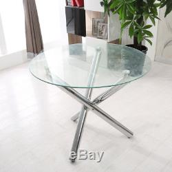 Glass Round Dining Table Set And 4 Cream Chairs Faux Leather Modern Chrome Legs
