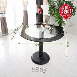 Glass Round Dining Table Set And 4 Grey Chairs Faux Leather Modern Chrome Legs