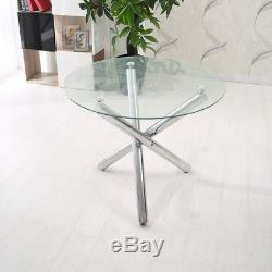 Glass Round Dining Table Set And 4 Grey Dining Chairs Faux Leather Chrome Legs