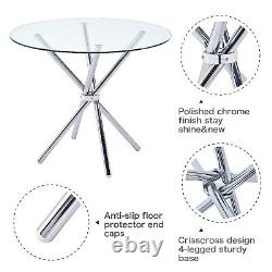 Glass Round Dining Table and 4 Chairs Set Faux Leather Padded Steel Legs Kitchen