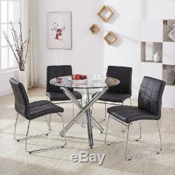 Glass Round Dining Table and 4 Chairs Set Kitchen Room Clear Cross Chrome Legs