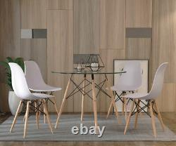 Glass Round Dining Table and 4 Chairs Set Modern Kitchen Cafe Coffee Home Need