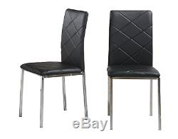 Glass Square Dining Room Table Set and 4 Chairs Faux Leather Chrome Cream/Black