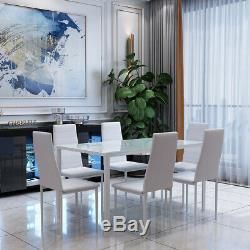 Glass Table and 6 Chairs Tempered Glass Top High Back Seat White Dining Set