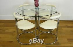 Good Mid Century Vintage 1960s Chrome and Glass Dining Room Table and 4 Chairs