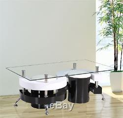 Gr8 Home S Shape Rectangular Glass Dining Coffee Table And 2 Stools Chairs Set