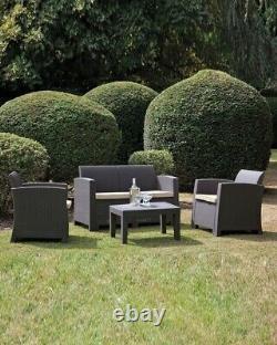 Graphite Grey Plastic Rattan Effect 4 Piece Garden Sofa Set Chairs Table