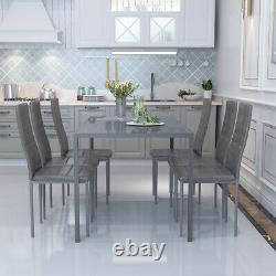 Grey Glass Dining Table And 6 Chairs Faux Leather Set Dinning Room Furniture NEW
