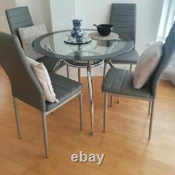 Grey Glass Dining Table and 4 Chairs Set Kitchen Furniture Round Space Saving