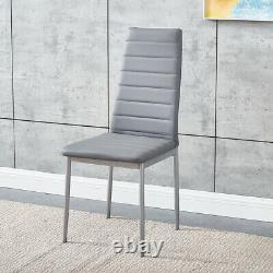 Grey Glass Dining Table and 4 Padded Chairs Set Home Kitchen Furniture New