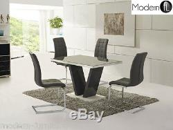 Grey High Gloss Dining Table With Glass And 4 Grey Chairs