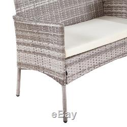 Grey Outdoor Garden Furniture Rattan 3 Chairs and Table Set Patio Conservatory