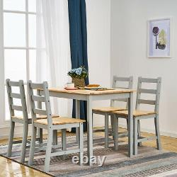 Grey Solid Wood Dining Table and 4 Chairs Set Dining Room Furniture New