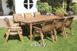 HGG Wooden Garden Table and 8 Chairs Dining Set Outdoor Patio Solid Wood