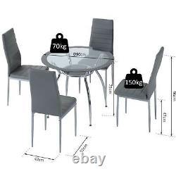 HOMCOM Dining Table Set 1 Table 4 Chairs Contemporary Kitchen Grey