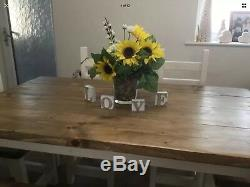 Hand Crafted Dining Table, 4 Chunky Chairs and bench In a Rustic, Farmhouse Style