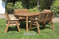 Hand Made 6 Seater Chunky Rustic Wooden Garden Furniture Table and Chairs Set