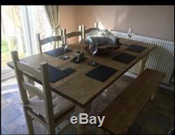 Handmade bespoke farmhouse dining table, bench and chairs