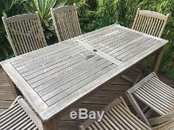 Hardwood Garden Table And 6 Folding Chairs