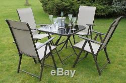 Henley 4 Seater Garden Dining Set 4 Folding Chairs and a Glass Top Table