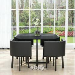 Home Cafe Black Space Saver Dining Set Dining Table and 4 Grey Chairs UK Stock