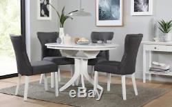 Hudson Bewley White Round Extending Dining Table 4 6