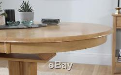 Hudson & Oxford Round Extending Oak Dining Table and 4 6 Chairs Set (Brown)