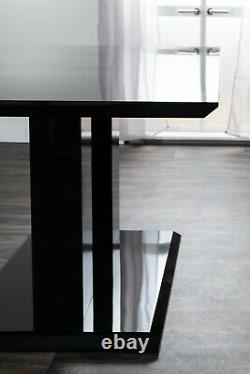 IMPERIA Black High Gloss Dining Table Set And 4 Chrome Leather Dining Chairs