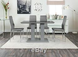 IMPERIA Grey High Gloss Dining Table Set And 4 Chrome Leather Dining Chairs