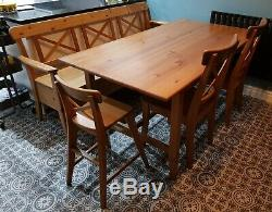 Ikea Extendable Dining Table With 3 Chairs and Bench