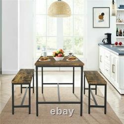 Industrial Dining Table Set with2 Wooden Chairs Bench Seat Kitchen Home Furniture