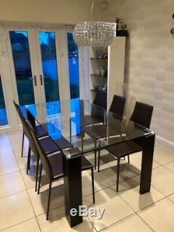 Italian Glass Dining Table And 6 Leather Chairs