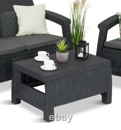 Keter Corfu Rattan Garden Furniture Set 4 Piece Chairs Sofa Table Conservatory