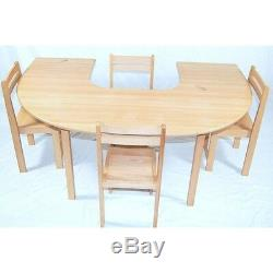 Kids beech wood half circle table + 4 stacking chairs classroom preschool school