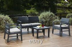 Kilimanjaro 4 Pc Table 2 Seat Sofa & 2 Chairs Rattan Garden Furniture Bistro Set