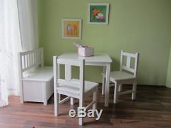 Kindersitzgruppe 1x Kindertisch 2x Kinderstuhl 1x Kindersitzbank WEIß MASSIVHOLZ