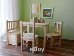 Kindersitzgruppe Kindermöbel Sitzgruppe MASSIVHOLZ UNBEHANDELT NATUR PUR