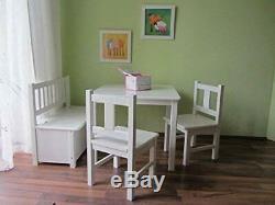 Kindersitzgruppe mit Kindersitzbank Kindertischgruppe mit Deckelbremse (WEIß)
