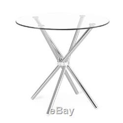Kitchen 2-4 Seats Dining Room Chrome Glass Round Dinner Table And 2 Chairs Set
