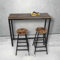 Kitchen Dining Breakfast Bar Table and 2 High Chairs Stool Set Lounge Cafe Pub