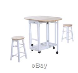 Kitchen Dining Table and Chairs Small Folding Set Drop Leaf Breakfast 3pc Stool
