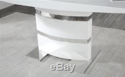 Komoro White High Gloss Dining Table 4 6 Renzo Grey Chairs